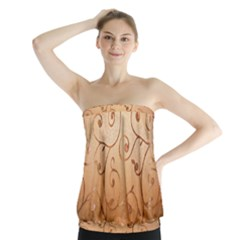 Texture Material Textile Gold Strapless Top