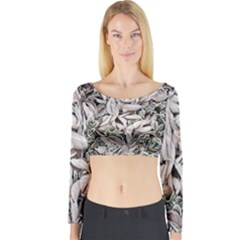 Ice Leaves Frozen Nature Long Sleeve Crop Top