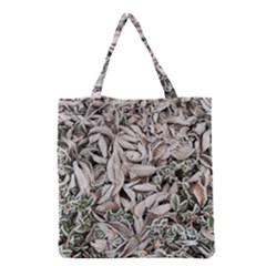 Ice Leaves Frozen Nature Grocery Tote Bag