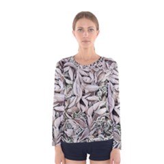 Ice Leaves Frozen Nature Women s Long Sleeve Tee