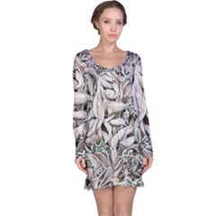 Ice Leaves Frozen Nature Long Sleeve Nightdress