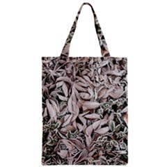 Ice Leaves Frozen Nature Zipper Classic Tote Bag