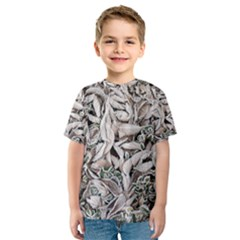 Ice Leaves Frozen Nature Kids  Sport Mesh Tee