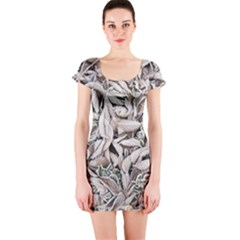 Ice Leaves Frozen Nature Short Sleeve Bodycon Dress