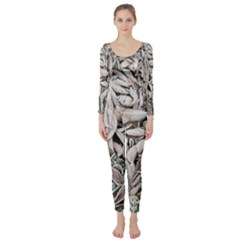 Ice Leaves Frozen Nature Long Sleeve Catsuit