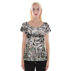 Ice Leaves Frozen Nature Women s Cap Sleeve Top