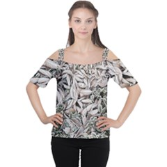 Ice Leaves Frozen Nature Women s Cutout Shoulder Tee