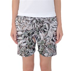 Ice Leaves Frozen Nature Women s Basketball Shorts