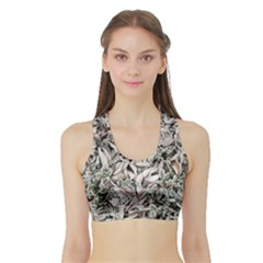 Ice Leaves Frozen Nature Sports Bra With Border