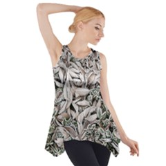 Ice Leaves Frozen Nature Side Drop Tank Tunic