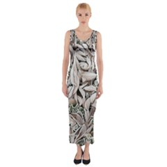 Ice Leaves Frozen Nature Fitted Maxi Dress