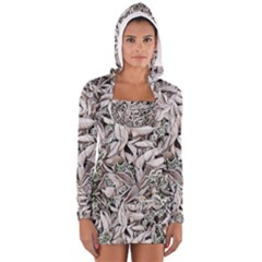 Ice Leaves Frozen Nature Women s Long Sleeve Hooded T-shirt