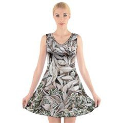 Ice Leaves Frozen Nature V Neck Sleeveless Skater Dress