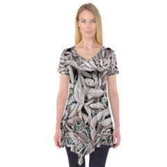 Ice Leaves Frozen Nature Short Sleeve Tunic
