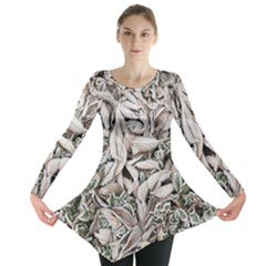 Ice Leaves Frozen Nature Long Sleeve Tunic