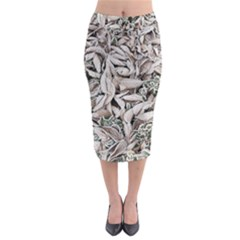 Ice Leaves Frozen Nature Midi Pencil Skirt