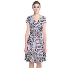 Ice Leaves Frozen Nature Short Sleeve Front Wrap Dress