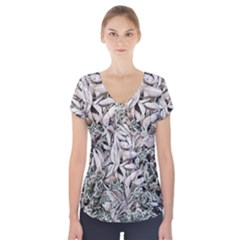 Ice Leaves Frozen Nature Short Sleeve Front Detail Top