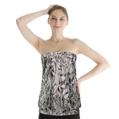 Ice Leaves Frozen Nature Strapless Top