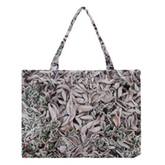Ice Leaves Frozen Nature Medium Tote Bag