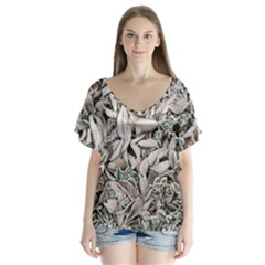 Ice Leaves Frozen Nature Flutter Sleeve Top