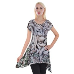 Ice Leaves Frozen Nature Short Sleeve Side Drop Tunic