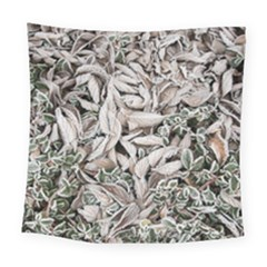 Ice Leaves Frozen Nature Square Tapestry (large)