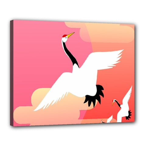 Goose Swan Pink Orange White Animals Fly Canvas 20  X 16