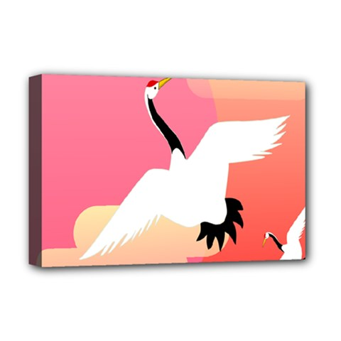 Goose Swan Pink Orange White Animals Fly Deluxe Canvas 18  x 12
