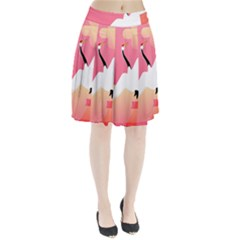 Goose Swan Pink Orange White Animals Fly Pleated Skirt
