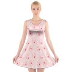 Flower Arrangements Season Pink V-Neck Sleeveless Skater Dress