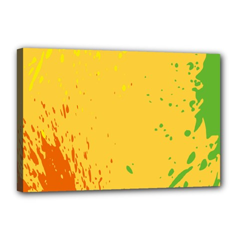 Paint Stains Spot Yellow Orange Green Canvas 18  x 12