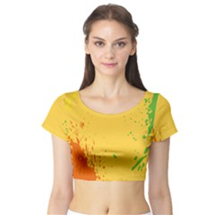 Paint Stains Spot Yellow Orange Green Short Sleeve Crop Top (Tight Fit)