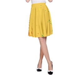 Paint Stains Spot Yellow Orange Green A Line Skirt