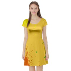 Paint Stains Spot Yellow Orange Green Short Sleeve Skater Dress