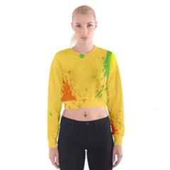 Paint Stains Spot Yellow Orange Green Women s Cropped Sweatshirt