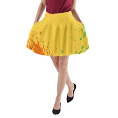 Paint Stains Spot Yellow Orange Green A Line Pocket Skirt