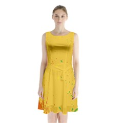 Paint Stains Spot Yellow Orange Green Sleeveless Chiffon Waist Tie Dress