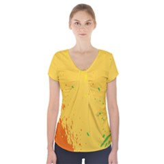 Paint Stains Spot Yellow Orange Green Short Sleeve Front Detail Top