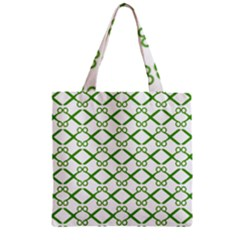 Scissor Green Zipper Grocery Tote Bag