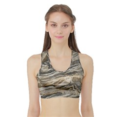 Rock Texture Background Stone Sports Bra with Border