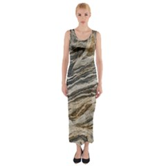 Rock Texture Background Stone Fitted Maxi Dress