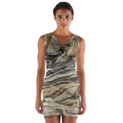 Rock Texture Background Stone Wrap Front Bodycon Dress