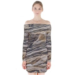 Rock Texture Background Stone Long Sleeve Off Shoulder Dress