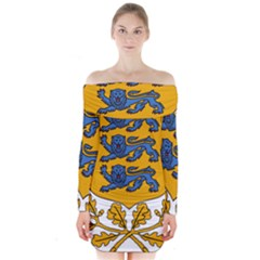 Coat of Arms of Estonia Long Sleeve Off Shoulder Dress