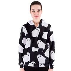 Ghost Halloween Pattern Women s Zipper Hoodie