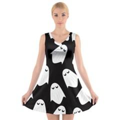Ghost Halloween Pattern V Neck Sleeveless Skater Dress
