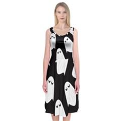 Ghost Halloween Pattern Midi Sleeveless Dress