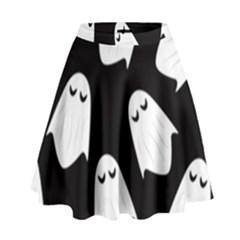 Ghost Halloween Pattern High Waist Skirt