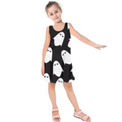 Ghost Halloween Pattern Kids  Sleeveless Dress